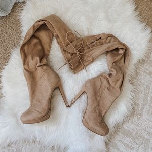 Charlotte Russe thigh high suede boots. NUDE.
